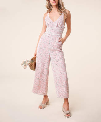 Sugar Lips Sugarlips Women's Jumpsuits PINK - Pink Floral Cross-Back Frankie Sleeveless Jumpsuit - Women