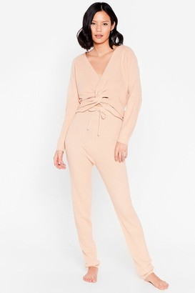 Nasty Gal Womens Alway's Lounging Twist Knit Jumper and Jogger Set - Pink - S