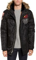 Schott NYC Men's N3-B Snorkel Flight Jacket With Faux Fur Trim & Lining