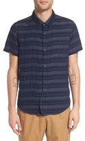 NATIVE YOUTH Men's 'Vapor' Stripe Short Sleeve Woven Shirt