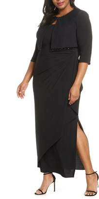 Alex Evenings Side Ruched Evening Gown with Bolero