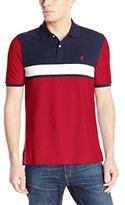 Izod Men's Short Sleeve Pieced Color Block Advantage Pique Polo