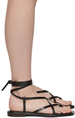 Proenza Schouler Black Strappy Flat Sandals