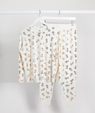 Chelsea Peers pineapple foil pyjama set in white