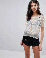 Brave Soul Crochet Lace Floral Top