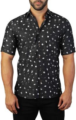 Maceoo Galileo Short Sleeve Galaxy Print Tailored Fit Dress Shirt