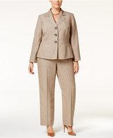 Le Suit Plus Size Basketweave Pantsuit