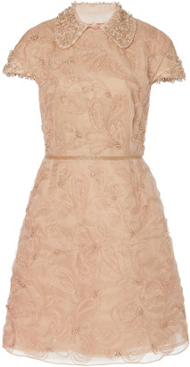 Marchesa Crystal-Embroidered Silk-Organza Cocktail Dress