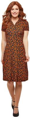 Joe Browns Short Flared Floral Dress with Shirt-Collar