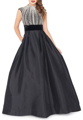 Mac Duggal Bejeweled Bodice Crewneck Cap-Sleeve Ball Gown w/ Pockets