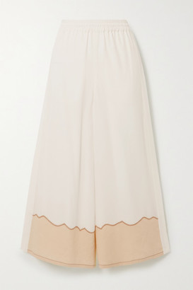 Chloé Silk Crepe De Chine And Linen Wide-leg Pants - White