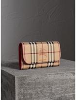 Burberry Haymarket Check and Leather Slim Continental Wallet, Red