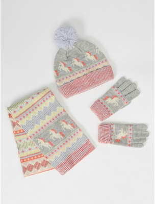 Bobble George Pastel Unicorn Hat Gloves and Scarf Set