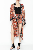 Solemio Black Collar Floral Kimono