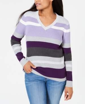 Karen Scott Ribbed V-Neck Cotton Sweater, Created for Macy's