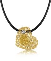 Orlando Orlandini Arianna - Small Diamond Heart Pendant w/Rubber Lace