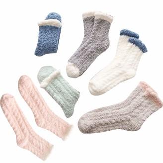 """Homeriy 6 Pair Women Fuzzy Bed Sock Slipper Fluffy Socks Soft Thermal Non Slip Cozy Socks Coral Fleece Floor Bed Sock for Sleeping Home"""""""