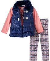 Little Lass Toddler Girl Puffer Vest, Geo-Heart Tee & Geo-Printed Leggings Set