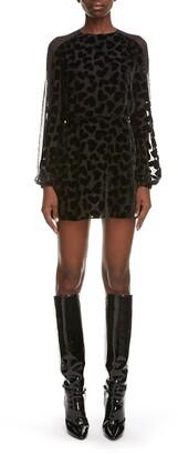 Saint Laurent Velvet Heart Burnout Long Sleeve Minidress