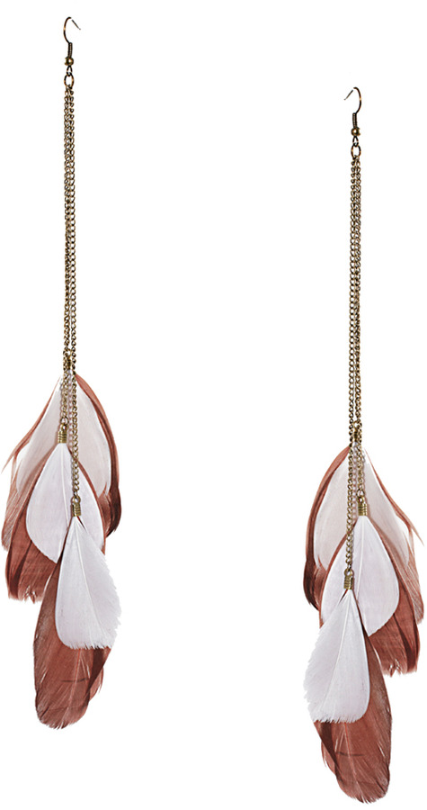 Just Access Shield Feather Earrings