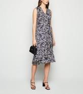 New Look Mela Leaf Print Frill Wrap Midi Dress