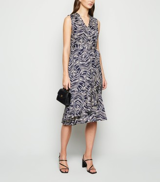 New Look Mela Leaf Print Frill Wrap Midi Dress