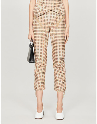Charlotte Knowles Tactical checked straight-leg mid-rise cotton-blend trousers
