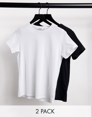 NA-KD 2 pack crew neck cotton t-shirt in black and white
