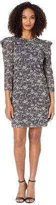 MICHAEL Michael Kors Puff Sleeve Sparkle Dress (Black/Silver) Women's Dress