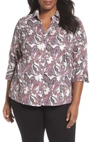 Foxcroft Plus Size Women's Mary Paisley Wrinkle Free Shirt