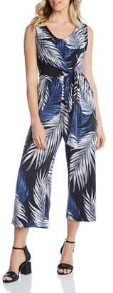 Karen Kane Sleeveless Palm-Print Jumpsuit