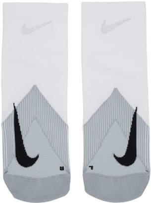 Nike White Elite Lightweight Quarter Running Socks