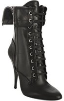 black leather lace-up folded boots