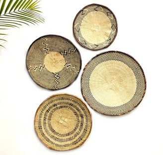 Pottery Barn Woven Tonga Basket Wall Art, Set of 4