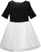 Zunie Elbow Sleeve Sequin Eyelash Bodice Dress (Big Girls)