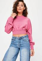 Missguided Petite Pink Cropped Sweatshirt, Pink