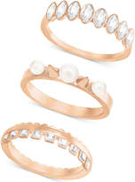 Swarovski Rose Gold-Tone 3-Pc. Set Imitation Pearl and Crystal Rings