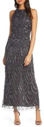 Pisarro Nights Beaded Halter Maxi Evening Dress
