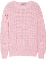 Preen by Thornton Bregazzi Cutout Waffle-knit Cotton-blend Sweater - Baby pink