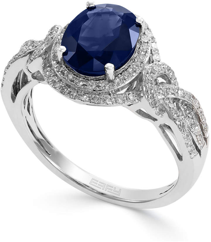 Effy Royale Bleu by Sapphire (1-9/10 ct. t.w.) and Diamond (1/3 ct. t.w.) Oval Ring in 14k White Gold