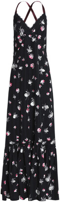 Marc Jacobs Lace-trimmed Printed Taffeta Maxi Dress