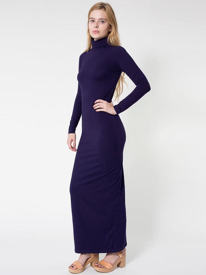 American Apparel Cotton Spandex Jersey Long Sleeve Turtleneck Maxi Dress