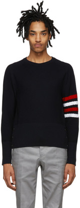 Thom Browne Navy Wool 4-Bar Crewneck Sweater