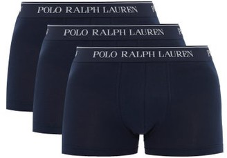 Polo Ralph Lauren Pack Of Three Logo-jacquard Cotton Boxer Briefs - Navy