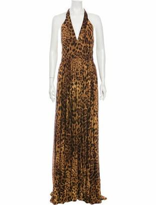 Dolce & Gabbana Silk Long Dress Brown