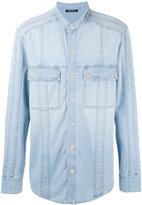 Balmain collarless denim shirt - men - Cotton - 38
