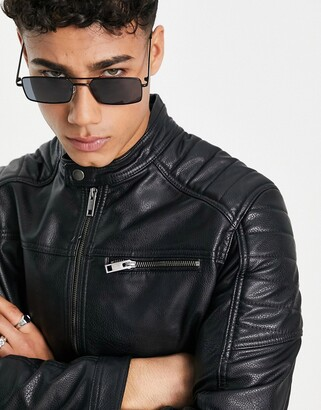 Jack and Jones Essentials faux leather racer jacket in black