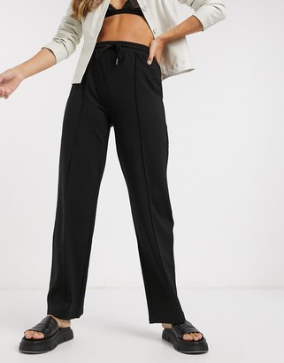 Object tie waist seam detail trouser in black