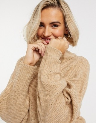 New Look slouchy roll neck jumper in camel