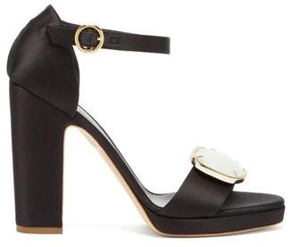 Rupert Sanderson Soraya Pebble-plaque Block-heel Satin Sandals - Black